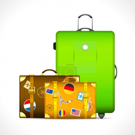 Illustration for Illustration of luggage with different country stamp sticker on them - Royalty Free Image
