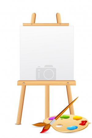 Illustration for Illustration of easel with color brush and palette - Royalty Free Image