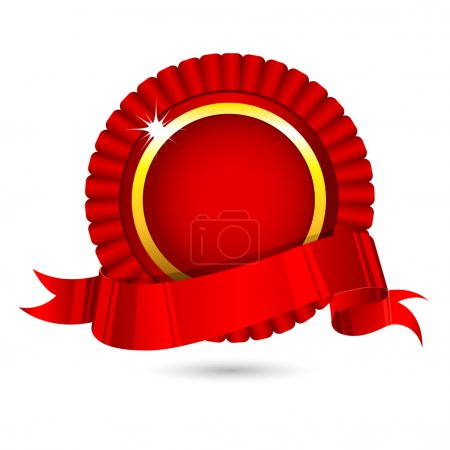 Illustration for Illustration of ribbon badge on white background - Royalty Free Image