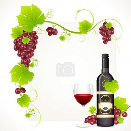 Illustration pour Illustration de raisin rouge avec bouteille de vin rouge et verre plein de vin avec espace de copie - image libre de droit