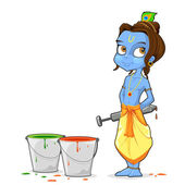 Illustration of baal Krishna playing holi with colors and pichkari