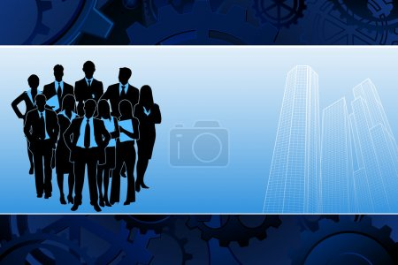 Illustration for Illustration of business team standing on corporate building background - Royalty Free Image