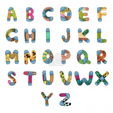 Illustration pour Illustration de l'alphabet abc avec motif rétro - image libre de droit