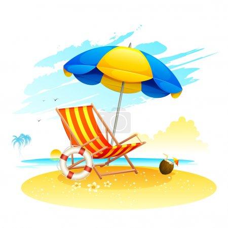 Illustration for Illustration of recliner under garden umbrella in sea beach - Royalty Free Image