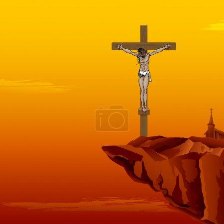 Illustration pour Illustration de Jésus-Christ en croix sur fond de coucher de soleil - image libre de droit