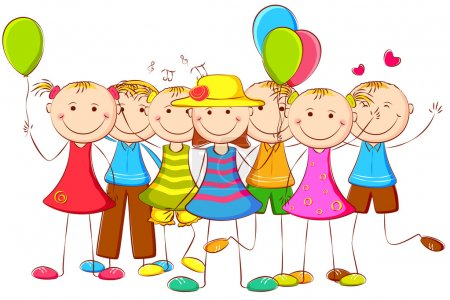 Illustration for Illustration of happy kids standing with balloon - Royalty Free Image