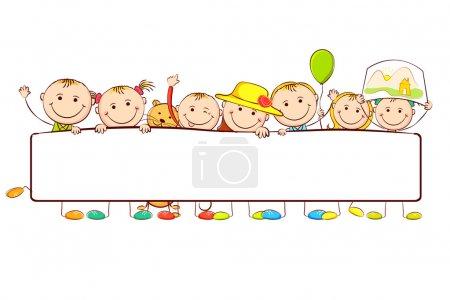 Photo pour Illustration des enfants debout bannière en rubis sur fond blanc - image libre de droit