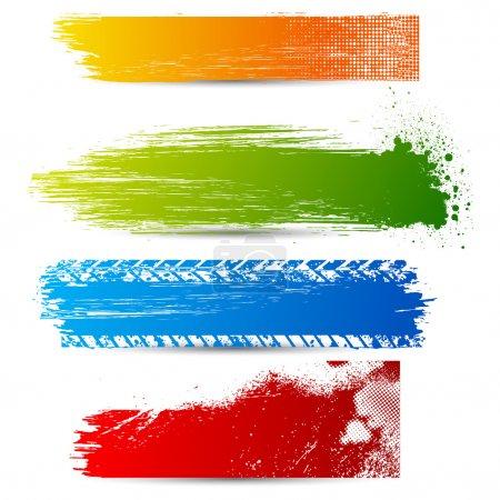 Illustration for Illustration of set of colorful grungy banner - Royalty Free Image