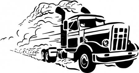 Illustration for Isolated vector illustration of truck on white background. - Royalty Free Image