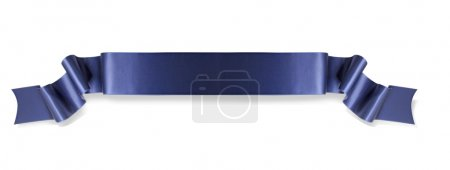 Photo for Elegance blue ribbon banner with shadow - Royalty Free Image