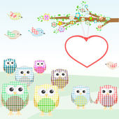 Owls and birds on tree branches nature element