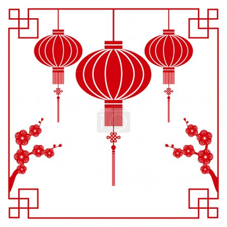 Illustration for Chinese paper cutting motif chinese lantern and cherry blossom - Royalty Free Image