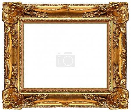 Photo pour Un cadre photo or sur un blanc - image libre de droit