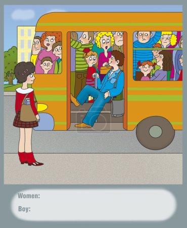 Photo pour Garçon dans le bus ne permet pas aux portes de fermer - image libre de droit