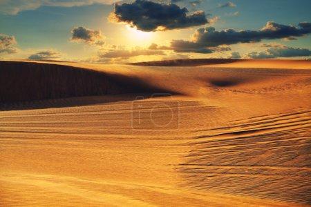Photo pour Désert arabe au coucher du soleil - image libre de droit