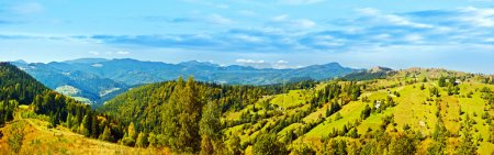 Photo for Panoramic mountains landscape, beautiful summer panorama, green highlands rural scenery, natural banner, European village, wide angle of scenic nature, east Europe country travel - Royalty Free Image