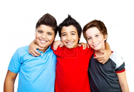 Photo for Happy boys, teenagers smiling, portrait of the best friends isolated on white background, cute kids having fun - Royalty Free Image