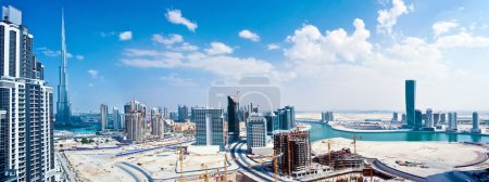 Photo for Panoramic image of Dubai city, modern cityscape, downtown with blue sky, luxury new high-tech city at Middle East, United Arab Emirates - Royalty Free Image