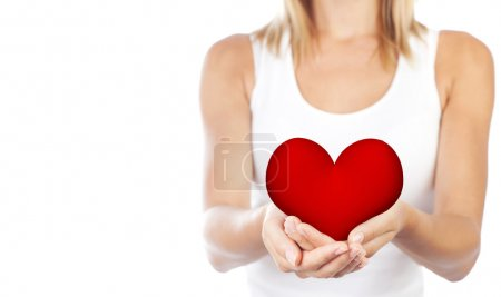 Photo for Healthy woman holding heart in hands, female body isolated on white background, conceptual of health care and love, girl with symbol of Valentine's day - Royalty Free Image