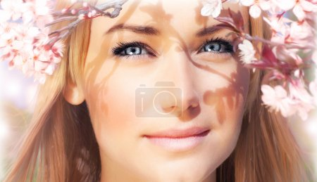 Photo for Sensual portrait of a spring woman, beautiful face, female enjoying cherry blossom, dreamy girl with pink fresh flowers outdoor, seasonal nature, tree branch and natural beauty - Royalty Free Image
