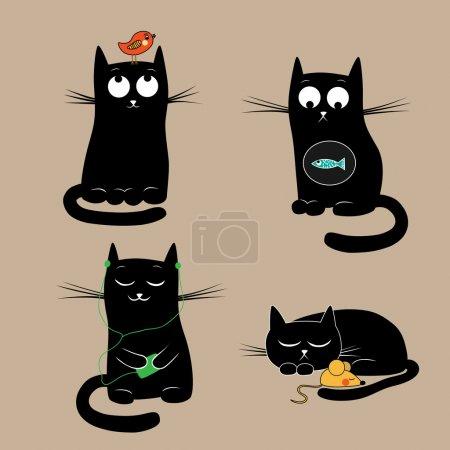 Funny cats. Vector illustration