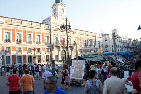 Madrid- OCT 15: meeting of indignant at the Puerta del Sol on OC