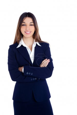 Foto de Mujer de negocios indios asiáticos feliz sonriendo con traje azul aislado en blanco - Imagen libre de derechos