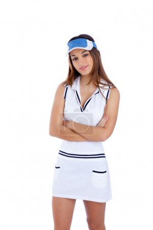 Morena tenis deporte chica con vestido blanco