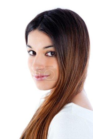Asiática morena india mujer con pelo largo