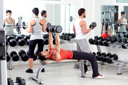 Photo for Group of in sport fitness gym weight training equipment indoor - Royalty Free Image
