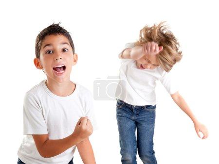 Excited children kids happy screaming and winner gesture