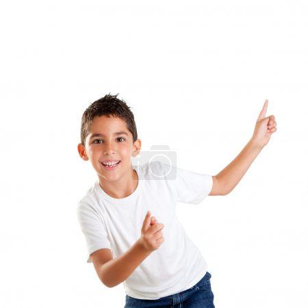 Photo for Dancing happy children kid boy with fingers up isolated on white - Royalty Free Image
