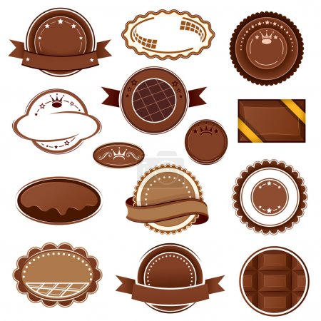 Set of chocolate badges and labels. Vector illustr...