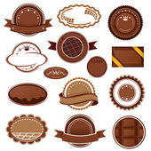 Set of chocolate badges and labels Vector illustration