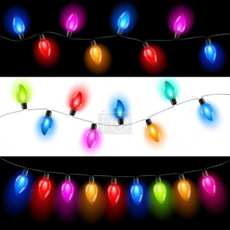 Foto de Сollection of Christmas lights on a white and black background - Imagen libre de derechos