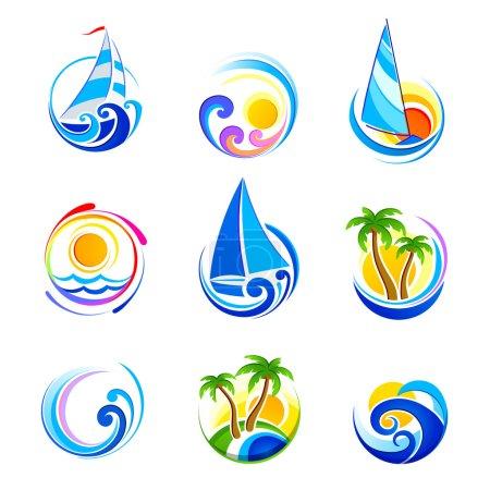 Illustration pour Récolte d'icônes de la mer et vacances d'été. Illustration vectorielle - image libre de droit