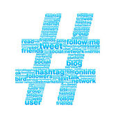 Alot of keywords from Twitter world make a big blue hashtag
