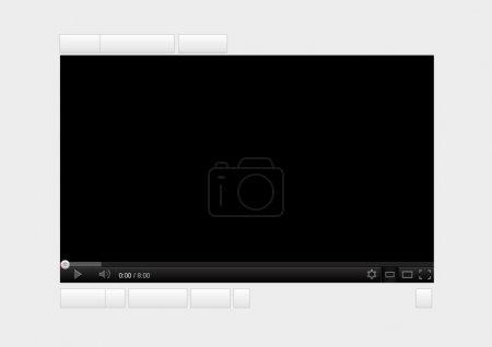 Illustration pour Site Web du lecteur vidéo en streaming noir modifiable - image libre de droit