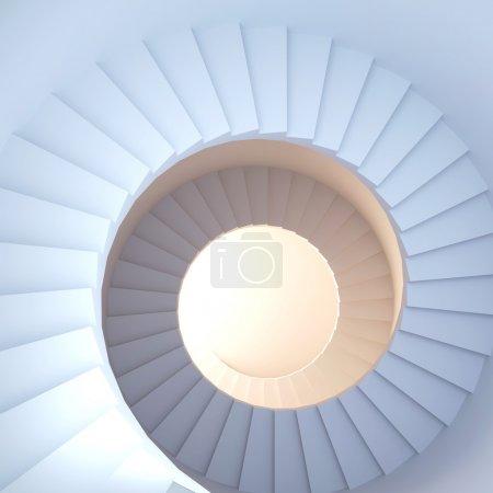 Photo pour Escalier en colimaçon. rendu 3D d'intérieur abstrait - image libre de droit