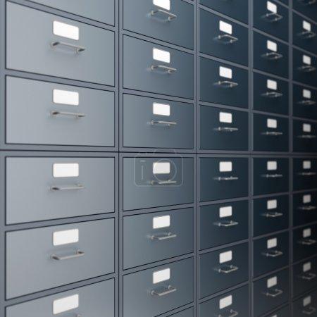 Filing cabinet for documents. 3d render...
