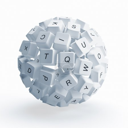 Photo for A sphere from the keys of keyboard is isolated on a white background - Royalty Free Image