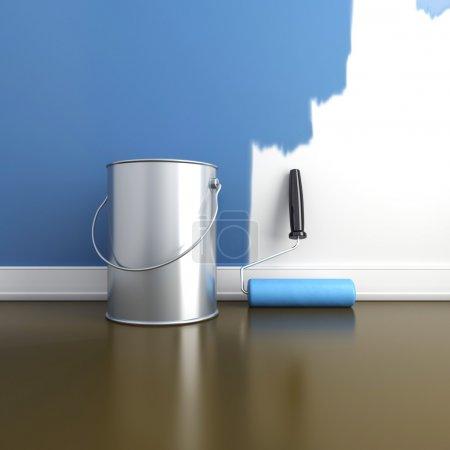 Photo pour Peinture des murs dans une couleur bleue. réparer dans une maison. rendu 3D - image libre de droit