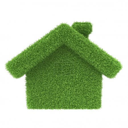 Photo for Grass house on a white background. 3d render icon - Royalty Free Image