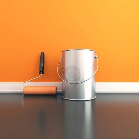 Photo pour Peinture des murs dans une couleur orange. réparer dans une maison. rendu 3D - image libre de droit