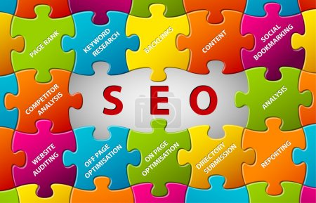 Illustration pour Search Engine Optimization Abstract vector puzzle background - image libre de droit