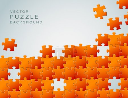 Illustration for Vector Abstract background made from orange puzzle pieces and place for your content - Royalty Free Image