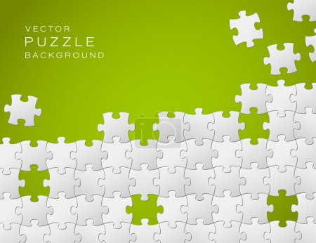Illustration for Vector Abstract green background made from white puzzle pieces and place for your content - Royalty Free Image
