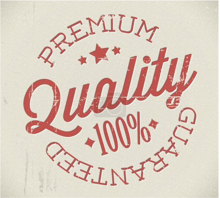 Illustration for Vector retro premium quality red detailed stamp - Royalty Free Image