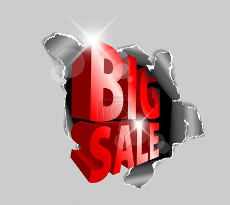 Illustration for Vector Big sale discount advertisement - Hole with sale text - Royalty Free Image