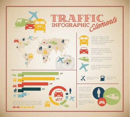 Illustration for Big Vector set of Traffic Infographic elements for your documents and reports - Royalty Free Image